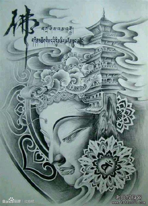 一款时尚经典的如来佛祖纹身手稿