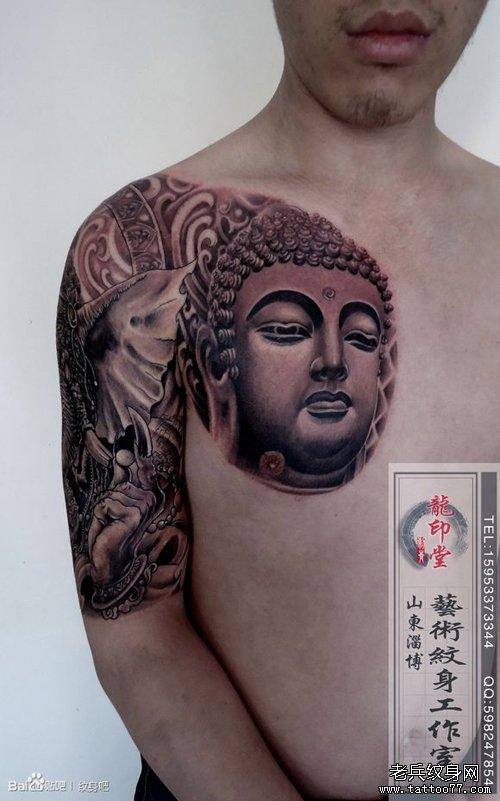纹身神佛图片_一款时尚很酷的半胛佛头与象神纹身图案作品推荐_武汉纹身店之 ...