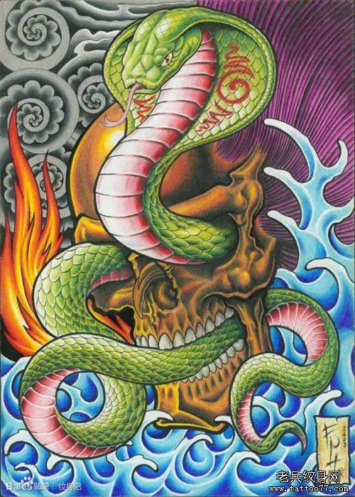 一款潮流帅气的眼镜蛇纹身图案