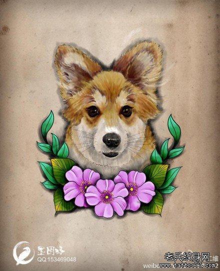 纹身图案大全 动物纹身图案大全        一款时尚可爱的小狗纹身手稿