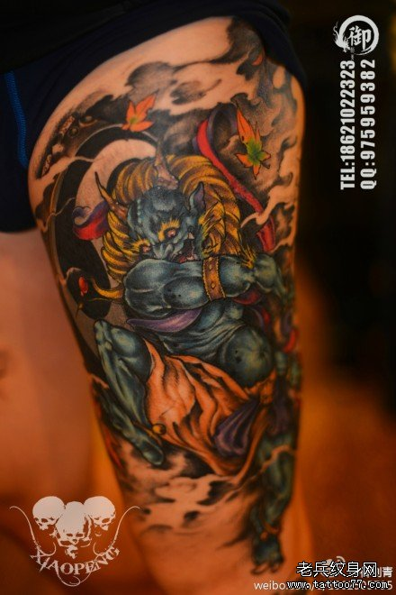 腿部超帅很酷的雷神纹身图案