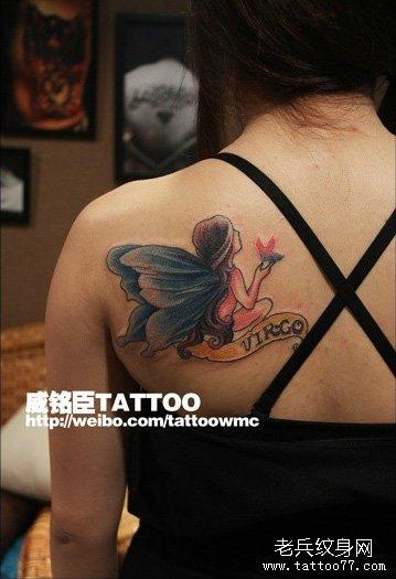 女生肩背潮流时尚的精灵纹身图案_武汉纹身店之家:店
