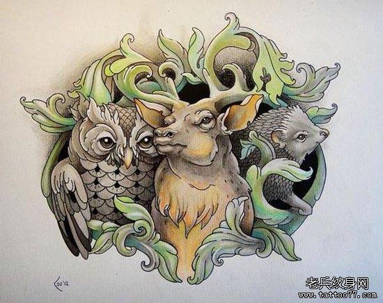 一组时尚潮流的小鹿猫头鹰刺猬纹身手稿