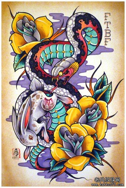 一款经典的蛇兔子纹身手稿