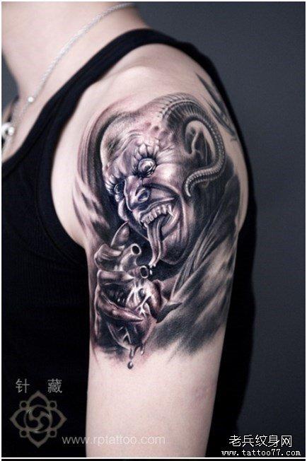 超酷帅气的一款恶魔撒旦纹身图案