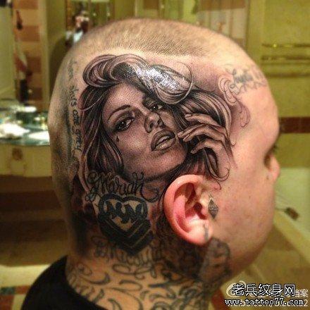 一款头部潮流时尚的欧美美女纹身图案