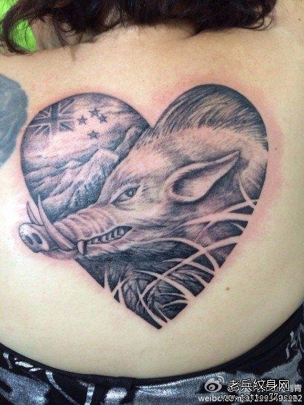 女生后背一款经典的野猪纹身图案
