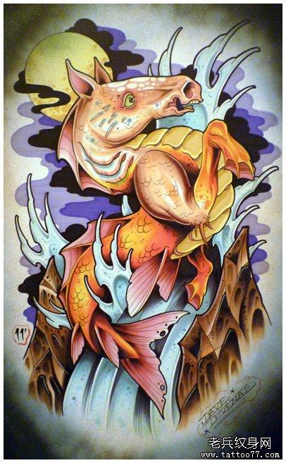 一款很酷经典的马头鱼尾兽纹身图案