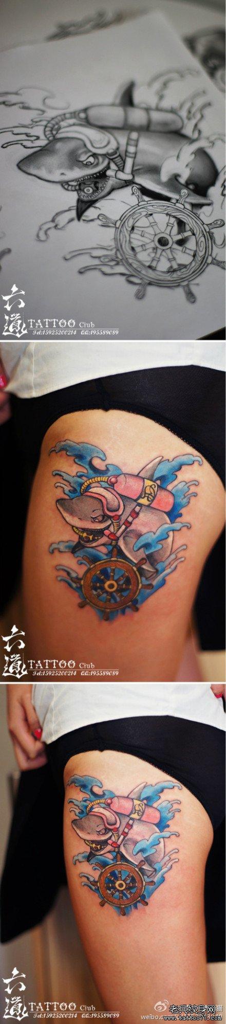 经典的小海豚刺青纹身图案