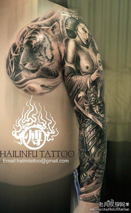 超帅的半胛老虎花臂艺妓武士纹身图案