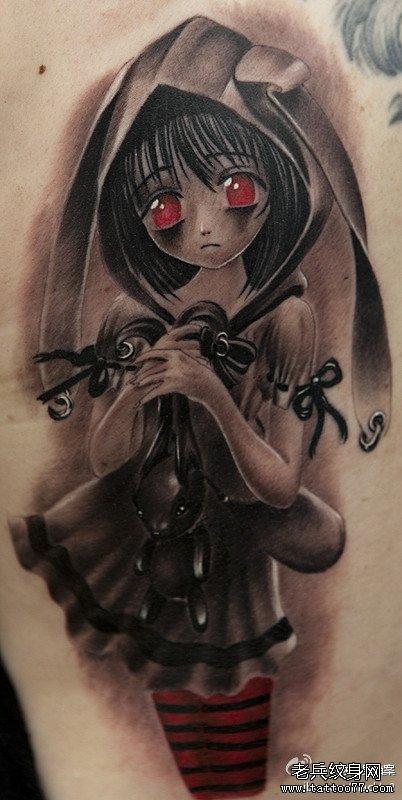 手臂漂亮的卡通美女纹身图案