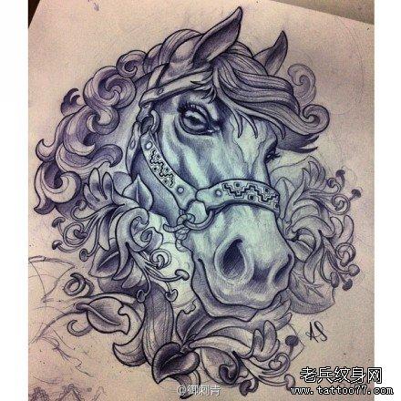 超帅很酷的一款马纹身手稿