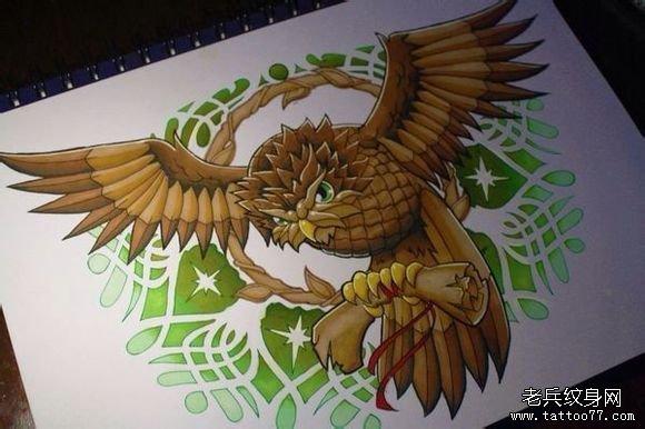 时尚很帅经典的一款猫头鹰纹身图案