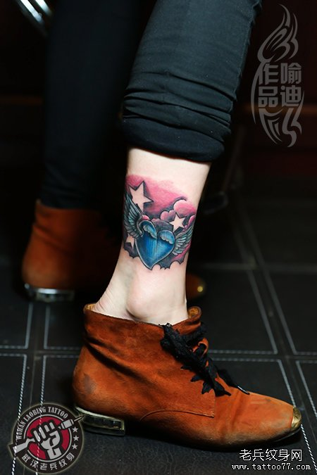 纹身 武汉/脚踝爱心翅膀纹身作品遮盖旧纹身图案