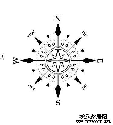 小清新纹身图案:指南针纹身图案