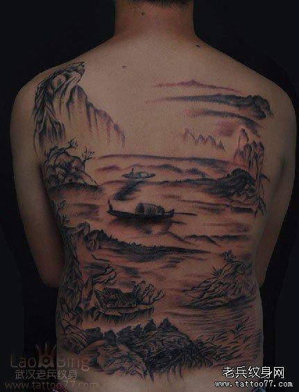 兵哥为武汉纹身爱好者制作的国画山水纹身图案作品