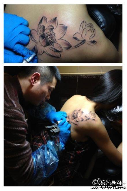武汉纹身水墨莲花纹身图案制作过程