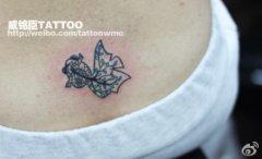 腰部小巧简单时尚的小鱼纹身图案
