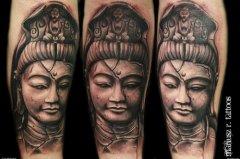 纹身 武汉/一款时尚经典的石雕观音纹身图案