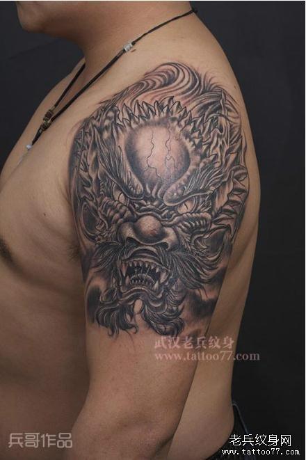 武汉纹身店老兵纹身兵哥制作的手臂龙头纹身图案作品