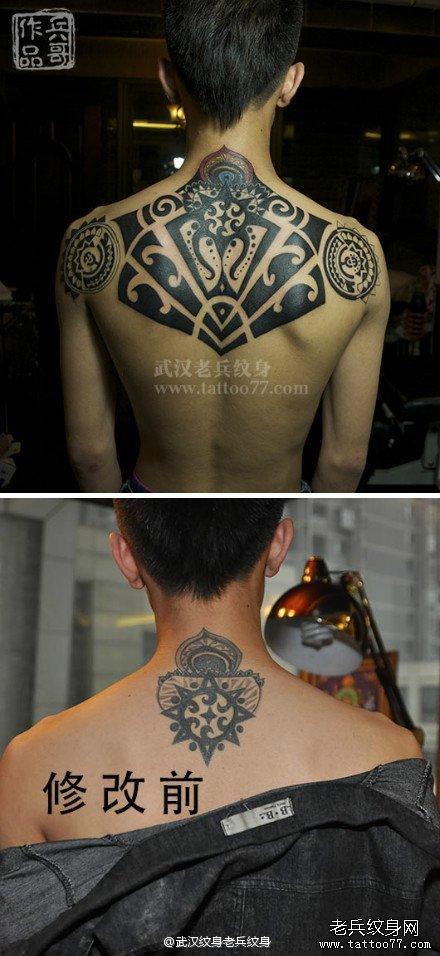 为武汉帅哥制作后背超师的图腾纹身图案作品