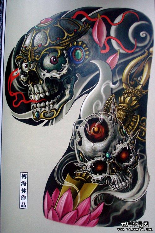 武汉纹身老兵纹身网推荐的经典超酷的半胛嘎巴拉纹身手稿图案大全