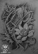 唯美时尚的一款黑灰鲤鱼纹身手稿