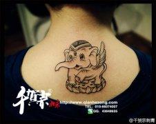 男生后背潮流唯美的图腾大象纹身图案