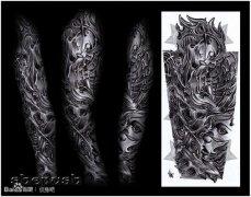 手臂帅气潮流的欧美机械花臂纹身图案