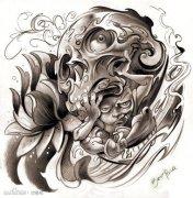 一款经典潮流的欧美骷髅纹身手稿