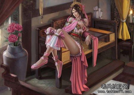 四大美女之貂蝉纹身图案及传说