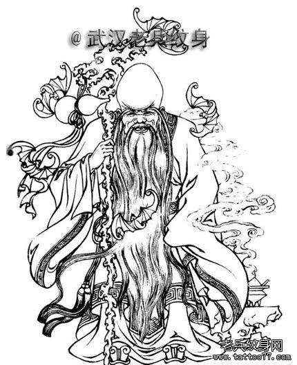象征长寿的寿星纹身图案寓意