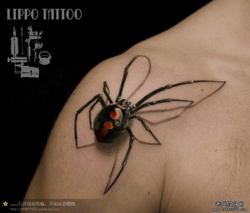 一款非常立体的蜘蛛纹身图案