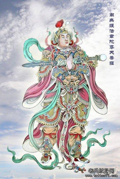 武汉最好的纹身店介绍一组韦陀菩萨纹身图案大全图片图片