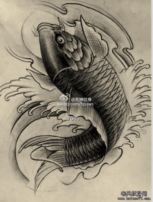 一款传统鲤鱼纹身手稿分享