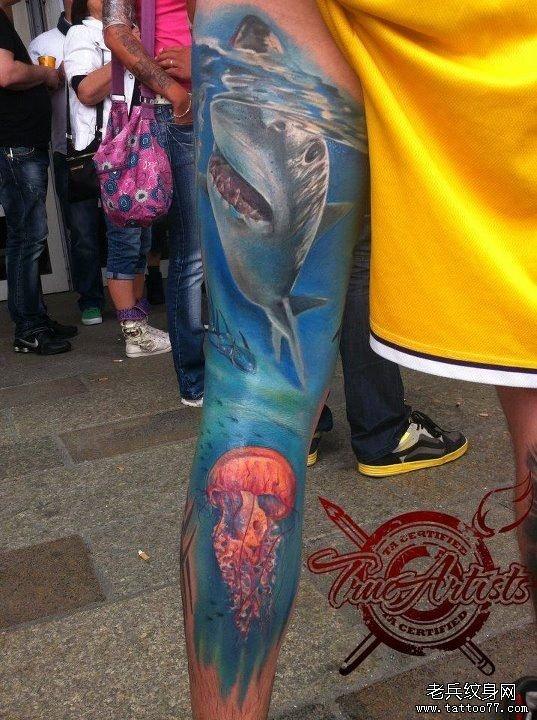 分享一款海底世界花臂纹身作品