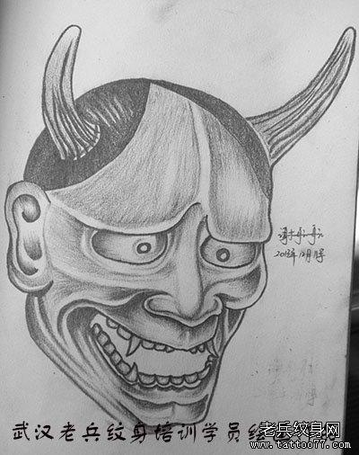 日本般若素描作品由武汉专业纹身学校学员绘制