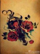 2013-12-27 11:12:14 时尚潮流的一款怀表玫瑰花纹身手稿 2013-12-27