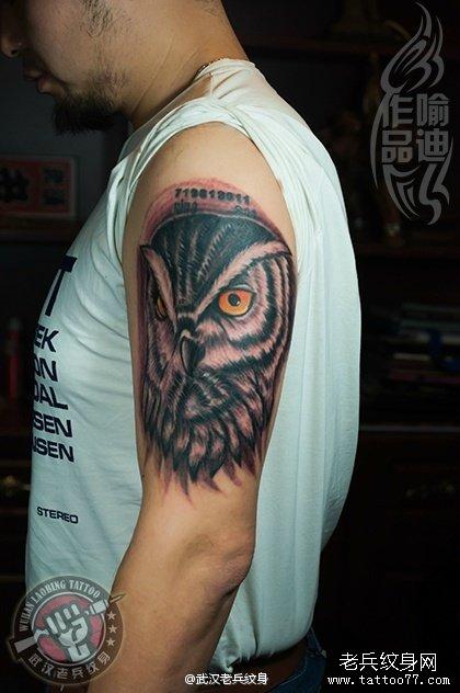 也和智慧相关的猫头鹰纹身作品