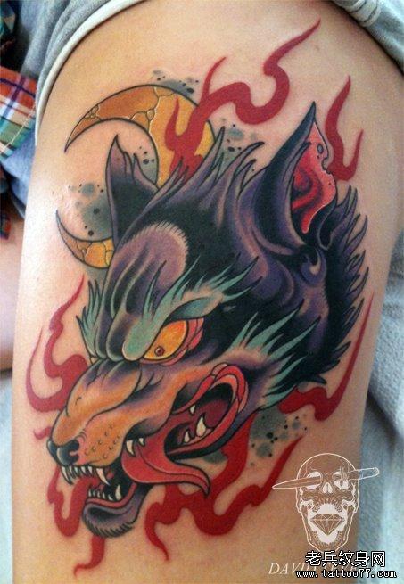 推荐一款霸气的欧美狼头纹身图案