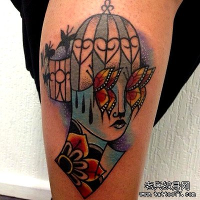欧美翅膀沙漏手臂刺青_纹身图案