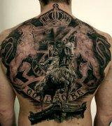 分享一款满背写实马纹身图案