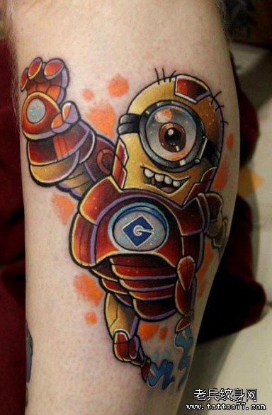 分享一款可爱的卡通小黄人纹身作品