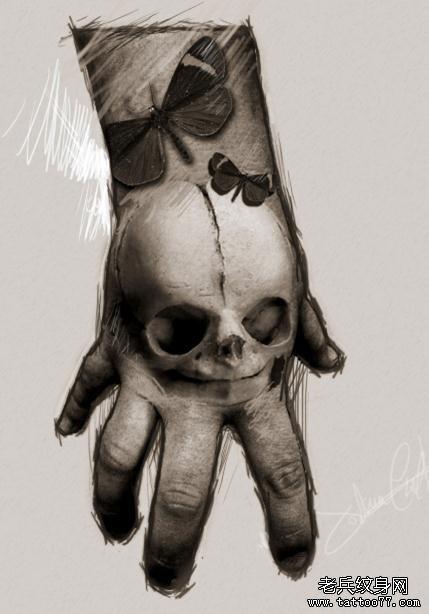 手背上一款个性骷髅头纹身手稿