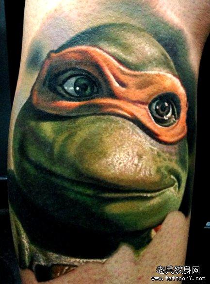 老兵纹身店推荐一款忍者神龟纹身作品