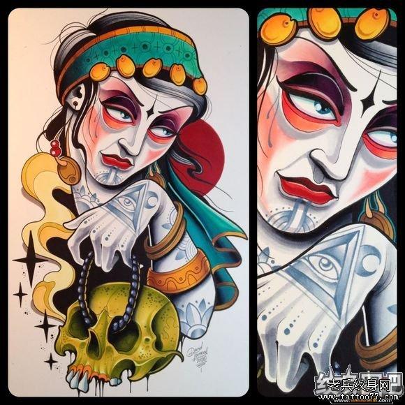 new school tattoo吉普赛女巫纹身图案手稿图片图片