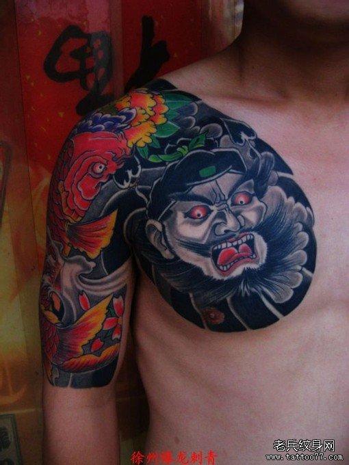 半胛纹身图案大全:钟馗鲤鱼牡丹纹身图案图片