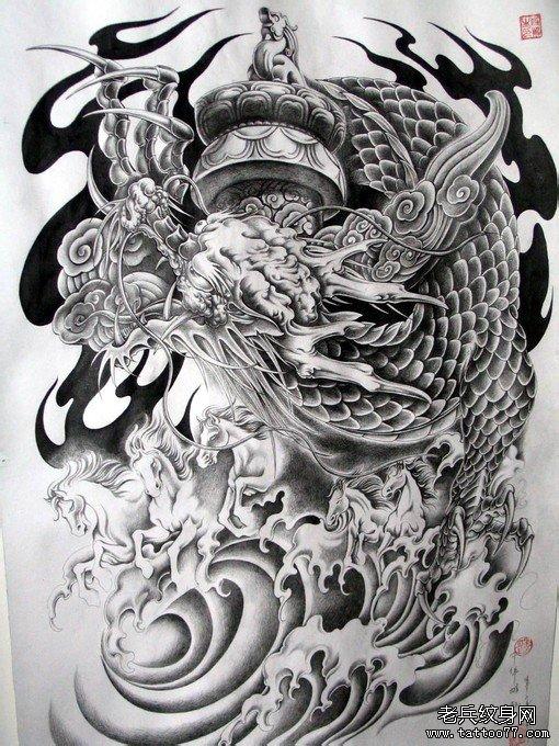 半胛盘柱龙龙华表五马奔腾纹身手稿图案图片大全(珍藏)