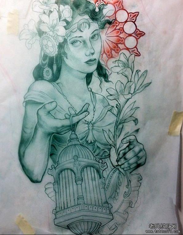 老兵纹身分享一款欧美女人物纹身手稿