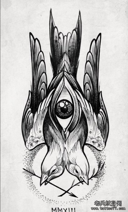 燕子纹身手稿图库简单分享展示